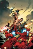 The Mighty Avengers No4 Cover: Ares and Iron Man
