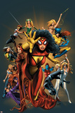 The Official Handbook Of The Marvel Universe: The Women of Marvel 2005 Cover: Spider Woman Charging