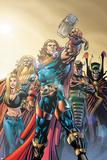 Thor No74 Cover: Thor  Jordahl  Prince Magni  Thialfi and Loki