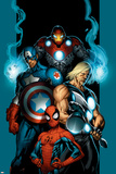 Ultimate Spider-Man No70 Cover: Spider-Man  Thor  Captain America  Iron Man and Ultimates
