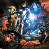 Avengers Academy No18 Cover: Striker  Mettle  Finesse  Hazmat  Veil  Warlock  and Reptil