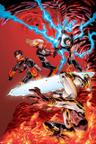 New X-Men No19 Cover: Prodigy  Hellion  Surge  Magik  New Mutants and Hellions Fighting