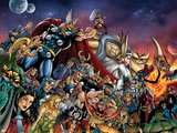 Thor No85 Group: Thor  Hulk  Loki  Thanos  Beta-Ray Bill and Odin Fighting