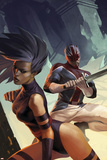 X-Men: Die By The Sword No5 Cover: Psylocke and Captain Britain Swinging