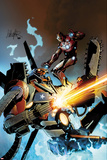 Invincible Iron Man No32 Cover: Iron Man Fighting