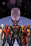 Shadowland No2 Cover: Daredevil  Spider-Man  Elektra  Iron Fist  White Tiger  Moon Knight  Kingpin