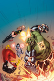 Avengers No15 Cover: Hulk  Spider Woman  Ms Marvel  and Protector Smashing  Jumping and Flying
