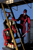 Daredevil No8 Cover: Daredevil and Spider-Man on the Fire Escape