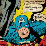 Marvel Comics Retro: Captain America Comic Panel  Villain Monologue  Say your Prayers (aged)