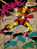 Marvel Comics Retro: The Invincible Iron Man Comic Panel  Fighting and Deflecting (aged)