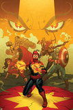 Captain Marvel 13 Cover: Captain Marvel  Spider Woman  Thor  Hulk  Black Widow  Captain America