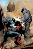 Marvel Adventrues Super Heroes No5 Cover: Captain America and Rhino Fighting