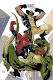 X-Men No10 Cover: Wolverine and Spider-Man Fighting while Falling