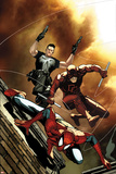 Avenging Spider-Man No6 Cover: Spider-Man  Daredevil  and Punisher Jumping