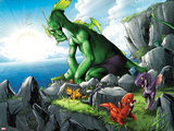 Avengers vs Pet Avengers No4: Fin Fang Foom Sitting on a Cliff