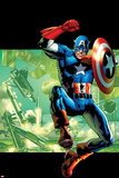 Captain America: Man Out of Time No4 Cover: Captain America Jumping with his Shield