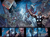 Ultimate New Ultimates No5: Panels with Thor Holding Mjonir  Screaming in a Storm