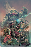 Avengers 13 Cover: Spider Woman  Spider-Man  Hawkeye  Iron Man  Thor  Hyperion  Terminus