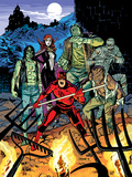 Daredevil 32 Cover: Daredevil  Satana  the Living Mummy  Frankensteins Monster  Werewolf by Night