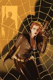 Black Widow No5 Cover: Black Widow Standing in Front of a Web with a Gun