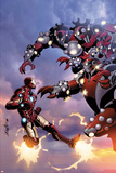 Invincible Iron Man No514 Cover: Iron Man Fighting and Flying