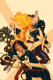 New Mutants No38 Cover: Moonstar  Sunspot  Magma  Warlock  Cypher  X-Man
