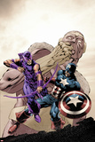 Hawkeye: Blindspot No2 Cover: Hawkeye and Captain America Fighting