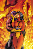 Avengers No17 Cover: Spider Woman and Hawkeye Hugging