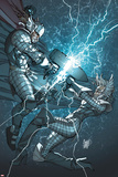 X-Men: To Serve and Protect No3 Cover: Storm and Thor Fighting