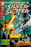 Marvel Comics Retro: Silver Surfer Comic Book Cover No12  Fighting the Abomination (aged)