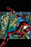 Captain America: Man out of Time No5 Cover: Captain America Running with his Shield
