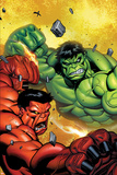 Hulk No29 Cover: Hulk and Rulk Fighting