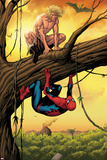 Marvel Adventures Spider-Man No13 Cover: Ka-Zar and Spider-Man Crouching Out on a Limb