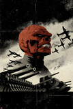 Red Skull No3 Cover: Redskull Portrait Amidst Tanks and Planes