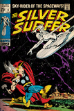 Marvel Comics Retro: Silver Surfer Comic Book Cover No4  Thor (aged)
