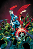 Captain America No10 Cover; Captain America and Falcon Fighting Others