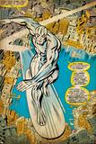 Marvel Comics Retro: Silver Surfer Comic Panel  Over the City (aged)