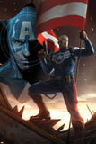 Captain America No617 Cover: Steve Rogers Standing with a Flag and Gun