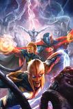 The Thanos Imperative No5 Cover: Nova  Quasar  Gladiator  and Silver Surfer Flying