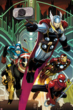 Avengers No5 Cover: Thor  Captain America  Spider-Man  Iron Man  and Wolverine Flying