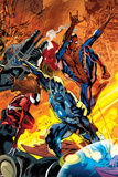 Ultimate Doom No2 Cover: Captain Marvel  Spider-Man  and Spider Woman Fighting