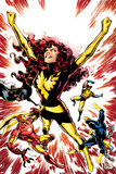 Iron Age No3 Cover: Phoenix Fights; Iron Man  Cyclops  Wolverine  Storm  and Colossus Fall
