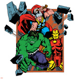 Marvel Comics Retro Badge Featuring Hulk  Thor  Iron Man