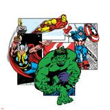 Marvel Comics Retro Badge Featuring Hulk  Thor  Iron Man  Captain America