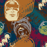 Marvel Comics Retro Pattern Design Featuring Black Bolt  Lockjaw  Daredevil  Black Panther