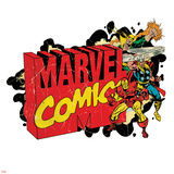 Marvel Comics Retro Badge Featuring Iron Fist  Thor  Iron Man
