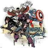 Marvel Comics Retro Badge Featuring Falcon  Captain America  Black Widow  Hawkeye