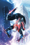 Spider-Man 2099 1 Cover Featuring Lightning  Skyscrapers  Electricity  Falling  Jumping