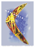 Australia - Boomerang - Kangaroo - Aboriginal Art - Australian National Travel Association
