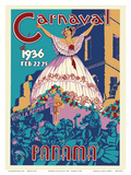 Panama Carnaval de (Carnival of) Feb 22-25, 1936 - Viva La Reina (Hail to the Queen) Reproduction d'art